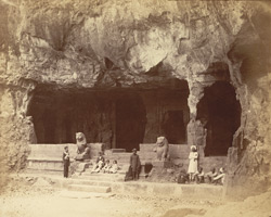 The Brahmanical cave-temple, Elephanta. Entrance to the northern aisle